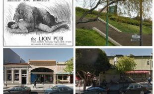 Clockwise from top left: bar ad for the Lion Pub; Alta Plaza Park; site of the old Alta Plaza bar, site of the old JJ's Piano Bar.