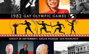 Clockwise from top left: James Baldwin; Federico García Lorca; Carole Migden; Randy Shilts; poster for the 1982 Gay Olympics, later renamed the Gay Games; the Black Cat Bar; Del Martin; Doug Murphy; Vaughn Walker