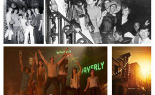 "Top two: photos at the Stonewall Inn in 1969 by Fred McDarrah. Bottom two: movie still and poster from Ronald Emmerich's 2015 film ""Stonewall."""