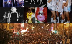 Clockwise from top left: Josie's Cabaret & Juice Joint (photo: Rick Gerharter); Halloween in the Polk in the 1970s; Halloween on Castro Street, 2007 (photo: Kevin Goebel); Halloween in the Castro, 2006 (Photo: Michael Macor, SFC); Divine (photo: Rink); two photos from Reigning Queens at the LGBT History Museum (photos: Roz Joseph)